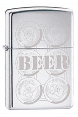 ZIPPOビール6パック#24720ハイポリッシュ