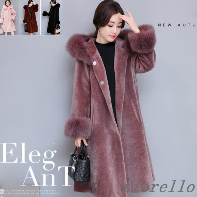 レディース ファーコート 毛皮コート 防寒 秋冬 大きいサイズ 暖かい ジャケット ファーアウター フェイクファー ロッグコート ロング丈