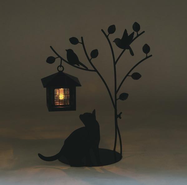 セトクラフト シルエットソーラー(Tree&Cat) SI-1954-900シルエットがかわいいおしゃれなライト