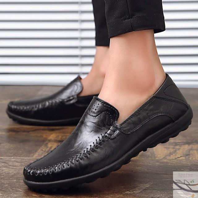 シューズ メンズ靴 ローファー 30代 40代 革靴 歩きやすい カジュアル 通勤 お洒落 スリッポン 紳士靴 通学20代 男性  ビジネスシューズの通販はWowma!