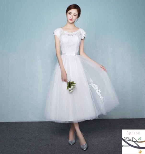 ウェディングドレス 結婚式 ウエディングドレス 二次会 パーティ ミモレ丈 ドレス 披露宴 花嫁ドレス お呼ばれ 白ドレス ロングドレス  ドの通販はWowma!