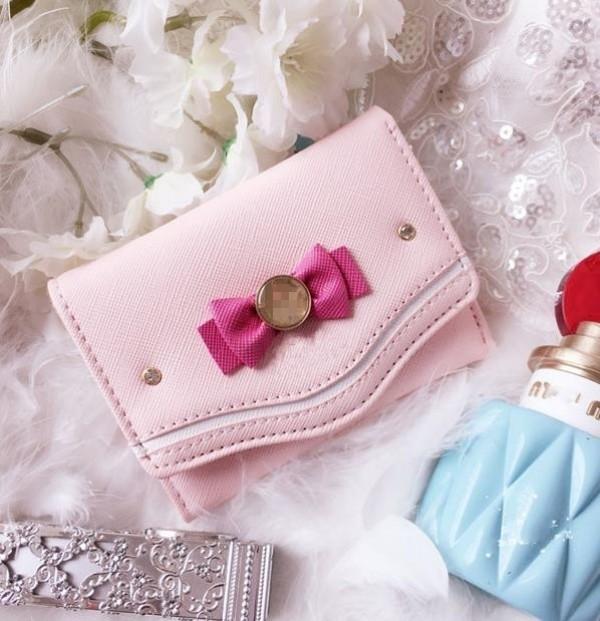 三つ折り財布 短財布 ミニ財布 コンパクト さいふ レディース 小銭入れ 収納 フェイクレザー 誕生日 ギフト プレゼント リボン