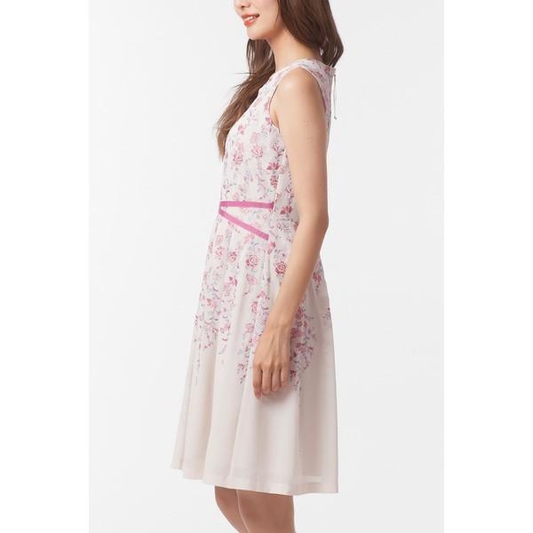 ローズティアラ(大きいサイズ)(Rose Tiara)/全2色【大きいサイズ】【42・46】吹き上げフラワー刺繍ジョーゼットワンピース