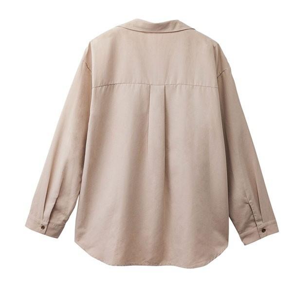 リュリュ(RyuRyu)/ピーチ素材スキッパーデザインシャツ