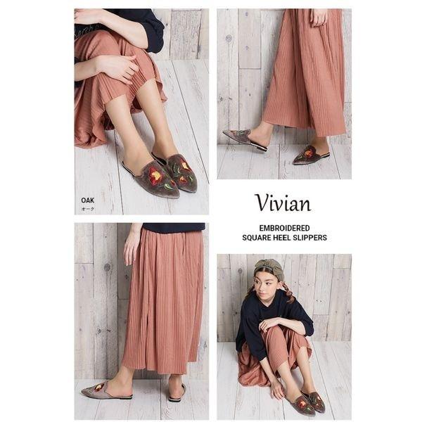 ヴィヴィアン(Vivian)/刺繍入りスクエアかかとスリッパ