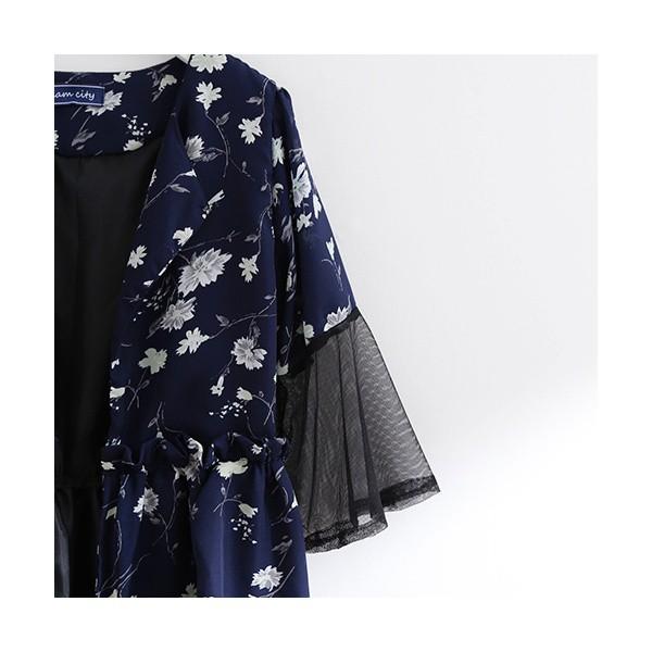 グラムシティ(glam city)/袖切り替えお花ミニワンピース