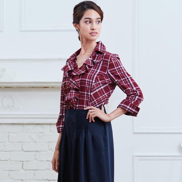 ナラカミーチェ(NARACAMICIE)/イタリアンチェック衿付フリルシャツ