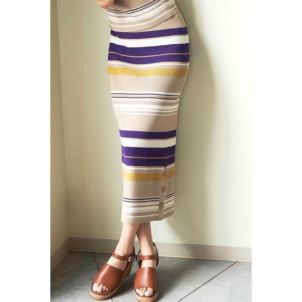 フリーズマート(Free's Mart)/◆マルチボーダーサイドボタンニットタイトスカート