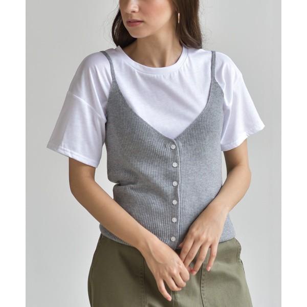 アール・ピー・エス(r.p.s)/Tシャツセットフロントボタンニットキャミ