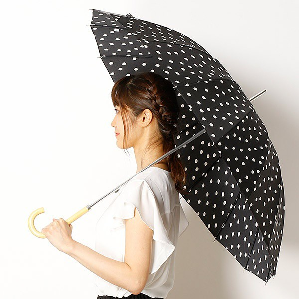 ビーサニー(BE SUNNY)/【雨晴兼用傘】ナチュラルドット(長傘16本/レディース)