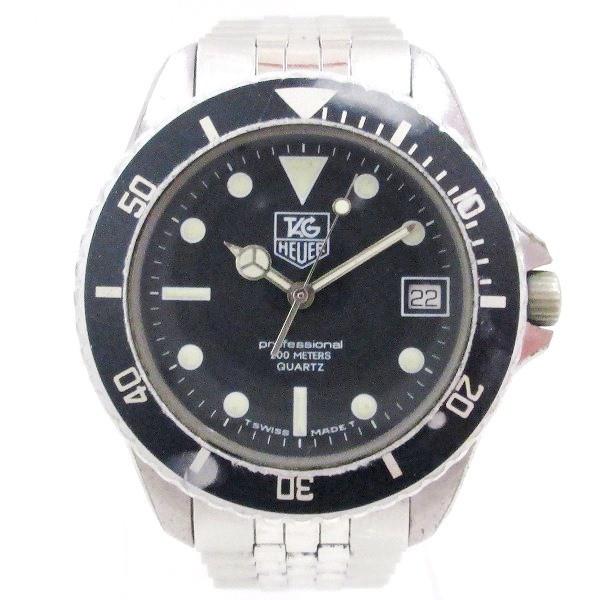 ca1d3dd544 タグホイヤー プロフェッショナル 200M 980.033 クオーツ 黒文字盤 時計 腕時計 メンズ【中古】