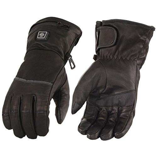 Milwaukee Leather MG7713SET レディース ブラックヒートレザー 防水ガントレットグローブ i-Touch