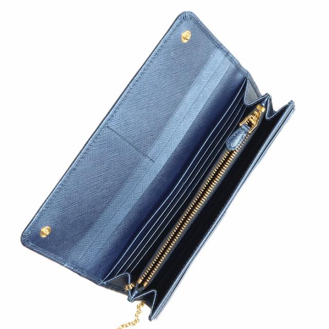 0564b4d86956 プラダ PRADA 長財布 レディース サフィアーノ パスケース付き 二つ折り長財布 メタリック ブルー 1MH132