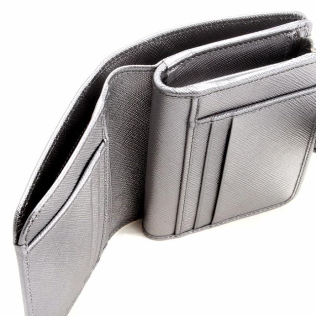 f1f49a888867 プラダ PRADA 財布 レディース サフィアーノメタル 二つ折り財布 シルバー系 1ML018 QWA 135