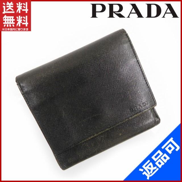 on sale ece04 e50eb プラダ 財布 PRADA 二つ折り財布 三つ折り財布 ブラック 即納 【中古】 X10880