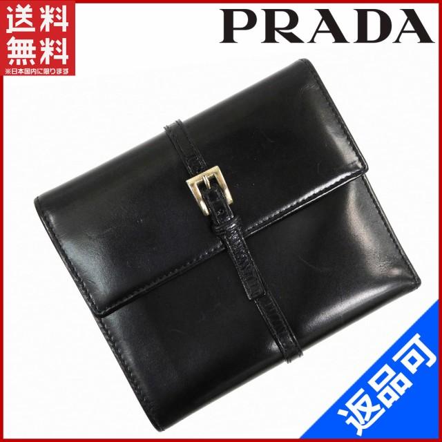 6d2394941cd7 プラダ 財布 PRADA 二つ折り財布 三つ折り財布 ブラック 即納 【中古】 X14912
