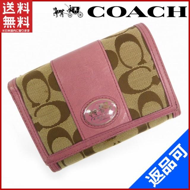 6bfb25c8ec70 コーチ 財布 COACH 二つ折り財布 ライトブラウン×ピンク 即納 【中古】 X14999