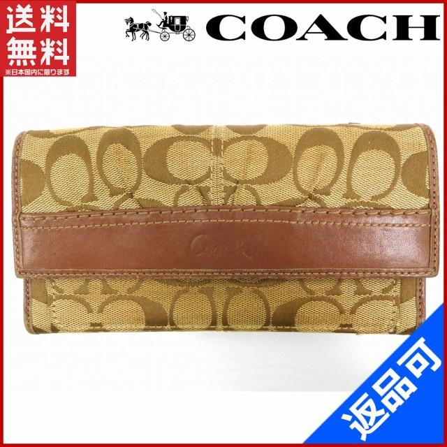767b22327c74 コーチ 財布 COACH 長財布 ファスナー二つ折り ギャザー入り ベージュ×ブラウン (良品・