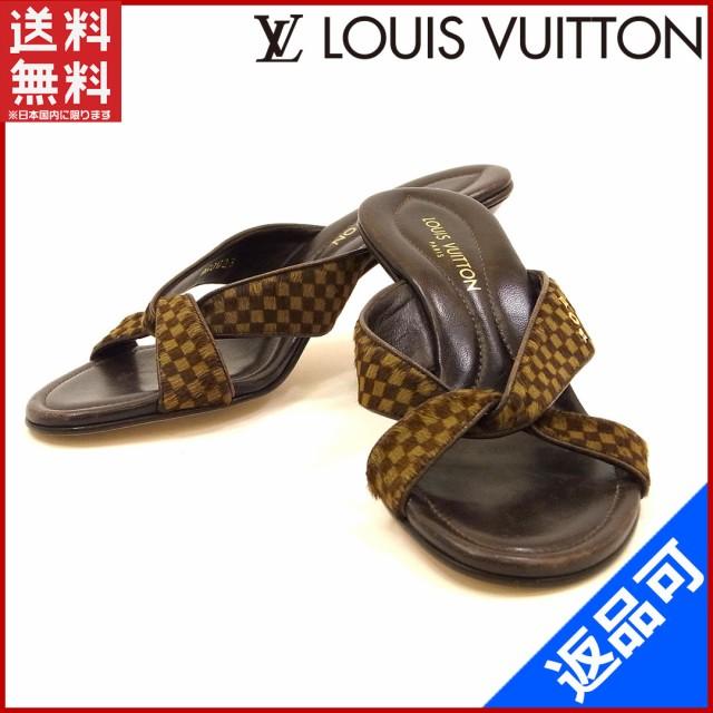 ルイヴィトン 靴 LOUIS VUITTON サンダル シューズ 靴 ハラコ ブラウン 良品 即納 【中古】 X9611