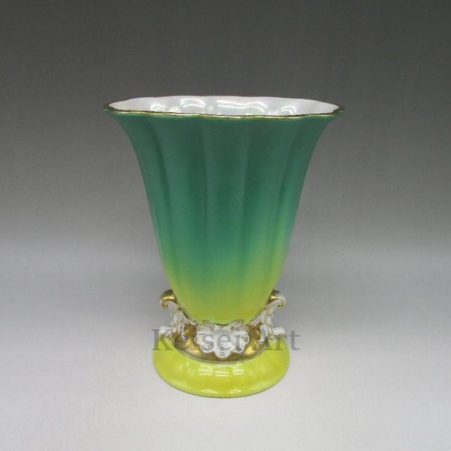 【サイズ交換OK】 u3308 アールデコ縦縞文様花瓶 オールドノリタケ / - 1941年頃 通称:M-JAPAN印 1921年頃 / / 【送料無料】 /-アート・美術品・骨董品