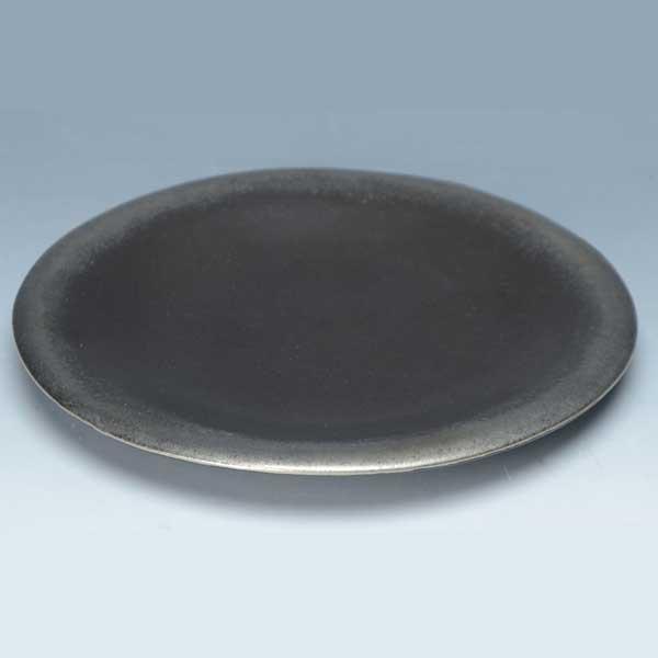 京焼 清水焼 6寸丸皿 黒釉銀彩 こくゆうぎんさい