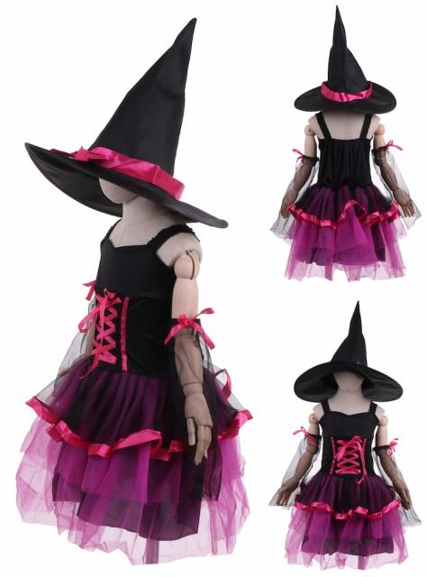 ハロウィン 衣装 コスチューム コスプレ 仮装 女の子 小学生 保育園 かわいい 魔女 ウィッチ 帽子 魔法使い かわいい 130 140 ピンク
