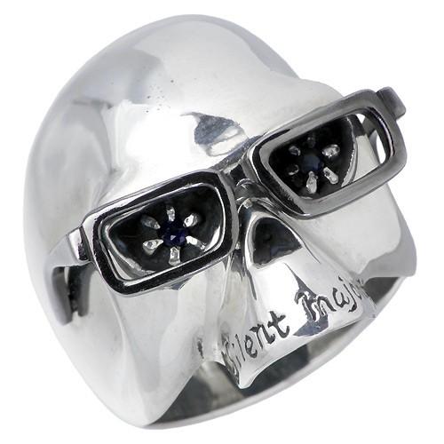 暮らし健康ネット館 誕生石 9月 レディース リング HOLLOOW ホロウ サファイアスカルドクロ髑髏 KHR-09 指輪 ヴィンセント シルバー メンズ-指輪・リング