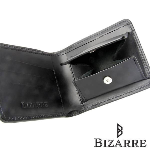 Bizarre ビザール カービング レザー 二つ折り ショート ウォレット ブラック 財布 メンズ レディース LWG030BK 送料無料