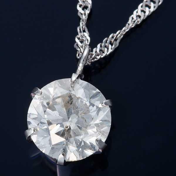 人気デザイナー ネックレス ダイヤモンド ペンダント 1ct K18WG スクリューチェーン(鑑別書付き)-ネックレス