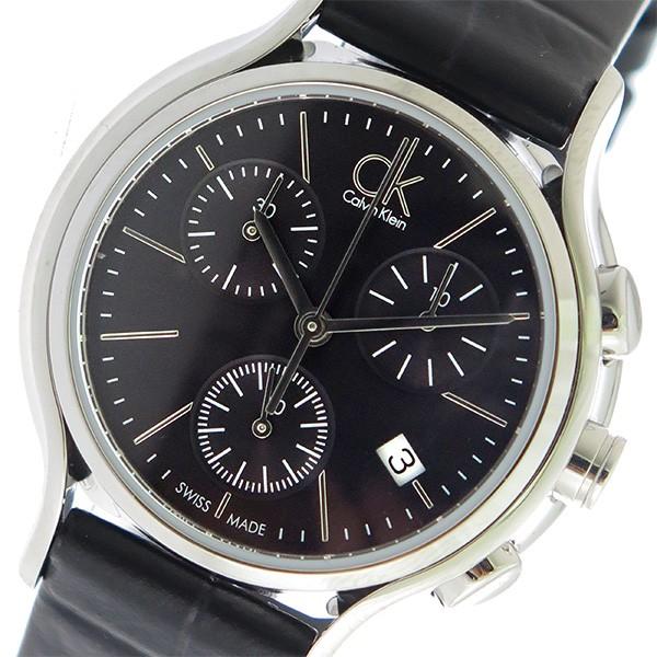 800a5185df カルバンクライン レディース 腕時計/Calvin Klein クロノグラフ レザー 腕時計 ブラック
