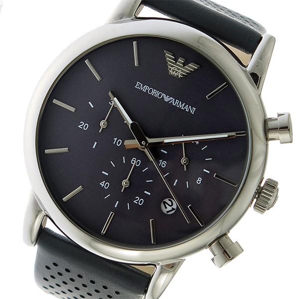 d306f24bff [即日発送]エンポリオアルマーニ メンズ 腕時計/EMPORIO ARMANI クロノグラフ レザー 腕時計 グレー