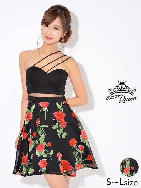 ドレス キャバ ワンピース 大きいサイズ SMLサイズ ローズプリントシフォンベアAラインスカート キャバドレス