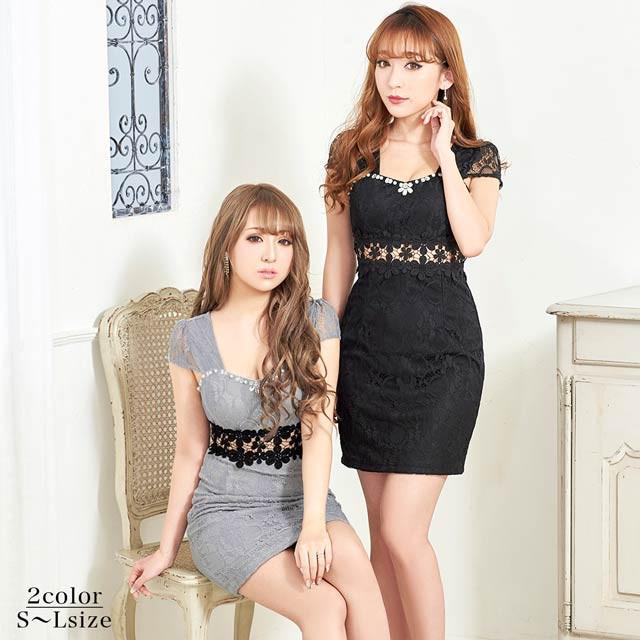 47446e54929e2 ドレス キャバ ワンピース 大きいサイズ SMLサイズ 総レースウエスト透け半袖タイトミニドレス キャバドレス