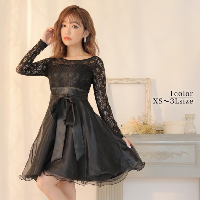 6b94e95bd8ab9 ドレス キャバ ワンピース 大きいサイズ SMLサイズ モノトーンレースxオーガンジーAラインフレアミニドレス キャバ