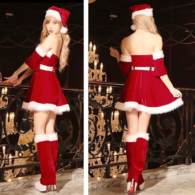 c6c618f444424 サンタ コスプレ クリスマス 2018 オフショル ワンピース サンタ 5点セット 衣装 セクシー パーティー 新作