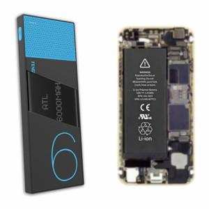 テック 大容量モバイルバッテリー 6,000mAh 2.1A出力対応 ブルー TMB-6KSBL