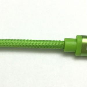 E-SELECT MFI認証ライトニングカラーケーブル (断線しにくいナイロン編みこみタイプ) 1m グリーン ES-L