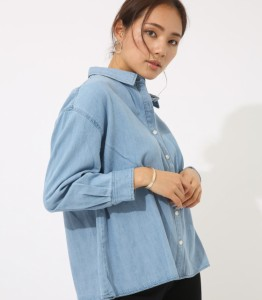 【60%OFF】 AZUL BY MOUSSY  / アズール バイ マウジー 【AZUL BY MOUSSY 】デザインデニムシャツWOMENSレディー