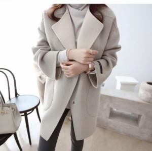 シンプル無地コート 人気  折り襟 ゆったり ポケット付き ウール アウター 秋冬  送料無料