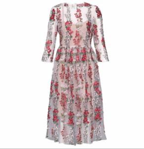 シースルー フラワー 刺繍 2色 ワンピース
