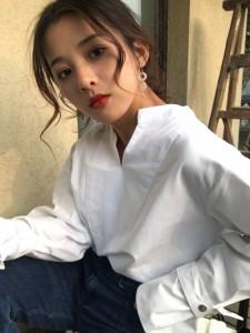 ミディアム ボリューム袖 Vネック トップス Tシャツ・カットソー・タンク シンプル 春夏 WH M
