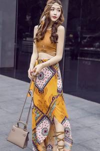 #0545 エキゾチックな柄がおしゃれなツーピースドレス