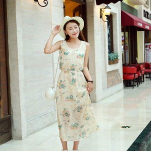 #5804 花柄が可愛いシフォンロングワンピース