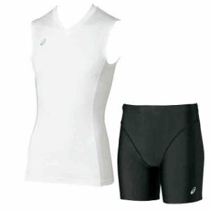 アシックス ノースリーブシャツ&ミドルタイツ上下セット(ホワイト×ブラック) XA3808-01-XA3401-90