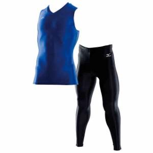 ミズノ バイオギア Vネックノースリーブシャツ&ロングタイツ上下セット(ブルー×ブラック) A60BS357-24-A60BP350-09