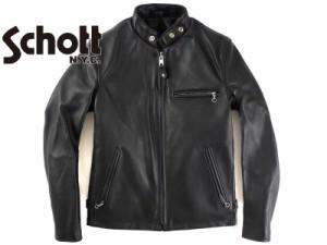 ショット SCHOTT 641 スタンドカラーシングルライダース ブラック■ミンクオイルプレゼント■(レザージャケット 革ジャン 米国製 MADE IN