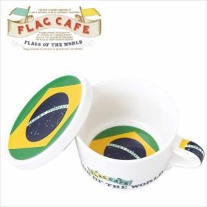 取寄品 国旗デザイン ふた付マグカップ フラッグカフェ ブラジル BRAZIL 日本製誕生日ギフト雑貨通販