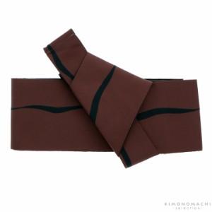 ワンタッチ 角帯「茶色 ゆらぎ縞」 男性帯 紳士帯 メンズ 浴衣帯