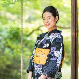 変わり織り 浴衣単品「黒色 紫陽花と金魚」夏祭り、花火大会に ボヌールセゾン フリーサイズ