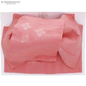 大人用 結び帯単品「サーモンピンク 紫陽花」 作り帯 付け帯 浴衣帯